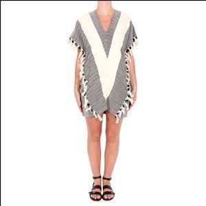 Koza Elyse Herringbone Fringe Cotton Kaftan Size Medium